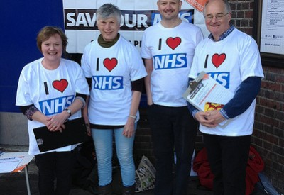 Photo of 38 Degrees members loving the NHS