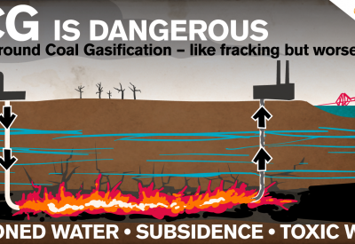 Graphic showing coal burning beneath the ground.