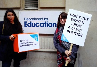 38 Degrees Women in A-level politics hand in