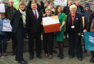 MSPs meet 38 Degrees members handing in a petition on CETA