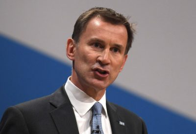 Britain's Health Secretary Hunt delivers his keynote address at the annual Conservative Party Conference in Birmingham, Britain