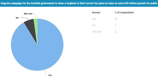 Pie chart showing that 91% of survey takers voted to campaign for this loophole to be closed.