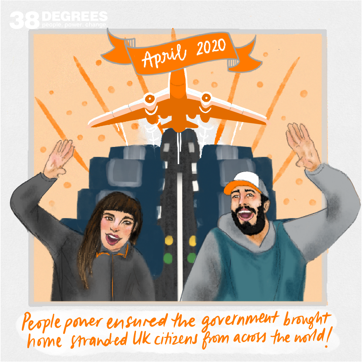 Two passengers on a flight home to the UK illustration