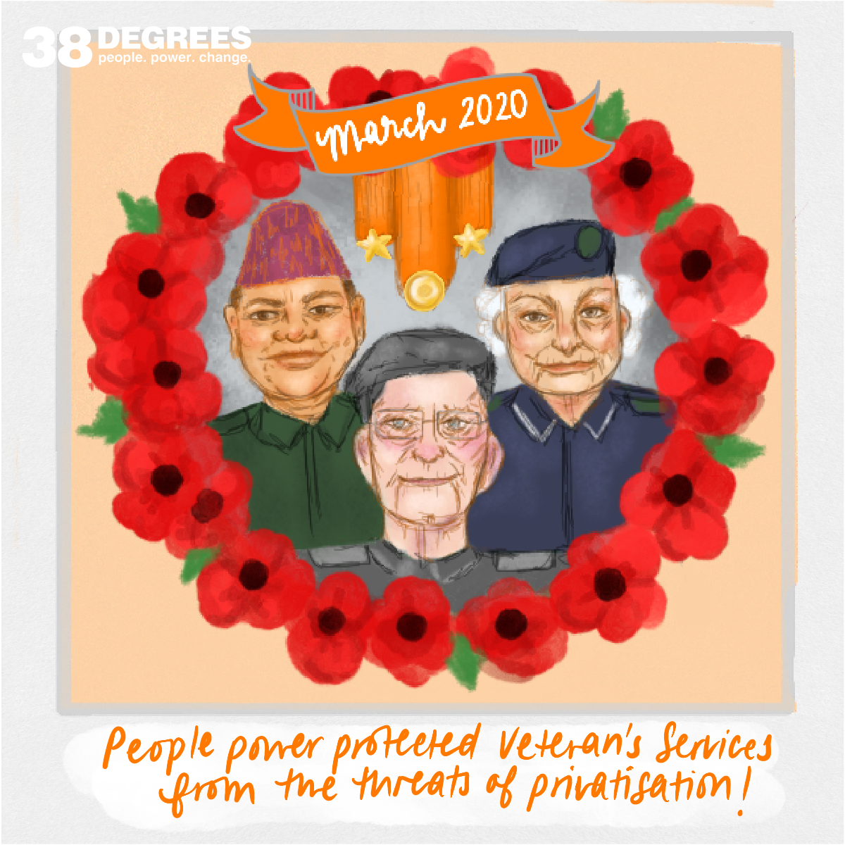 Three veterans within a circle of poppys illustration