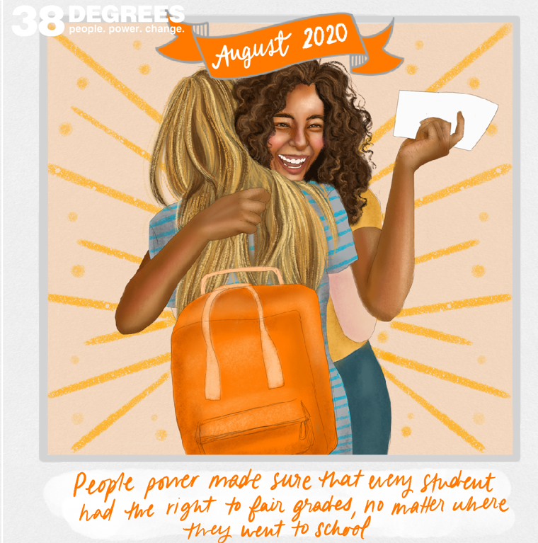 Illustration of two girls hugging and celebrating on exam results day