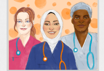 Illustration of three NHS staff members in uniform