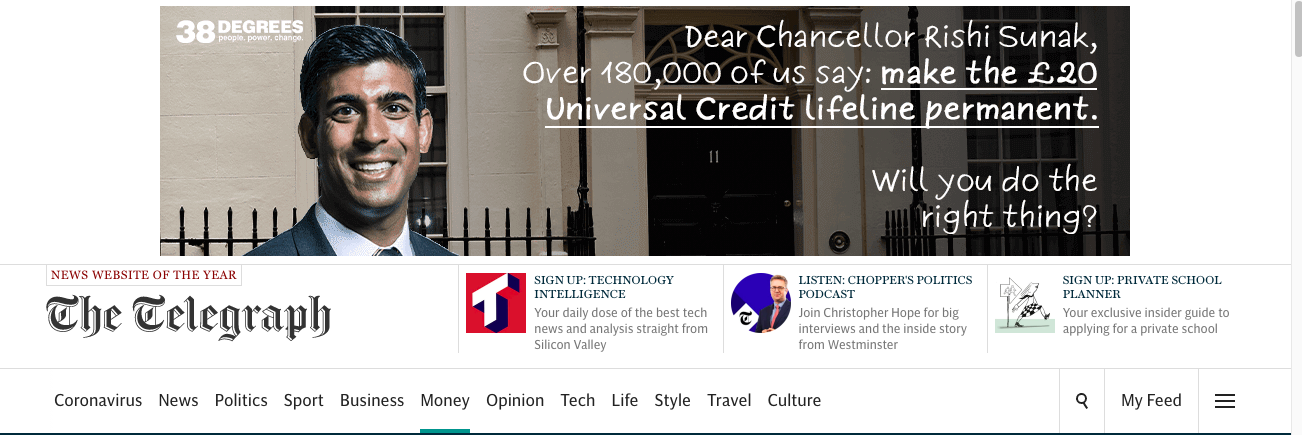"""Ad on The Guardian website. Text on the ad says """"Dear Chancellor Rishi Sunak - Over 180,000 of us say make the Universal Credit lifeline permanent. Will you do the right thing?"""""""