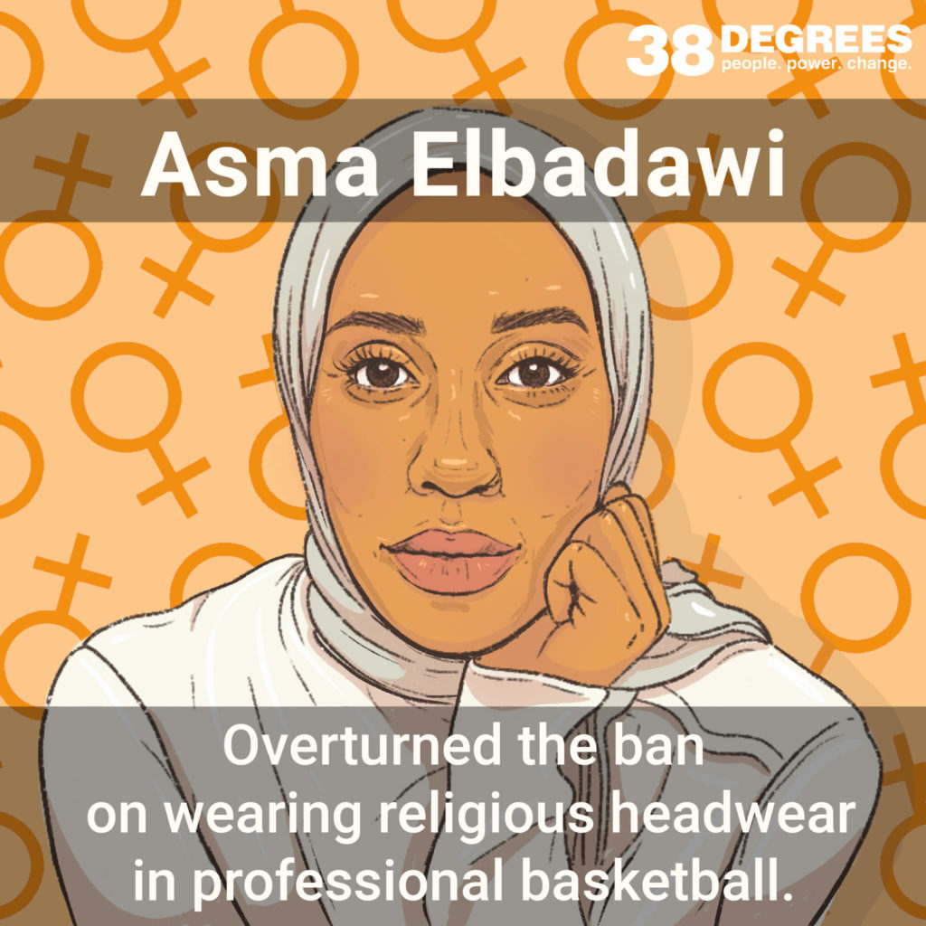 """Image shows Asma Elbadawi. Text on the image says """"overturned the ban on wearing religious headwear in professional basketball""""."""