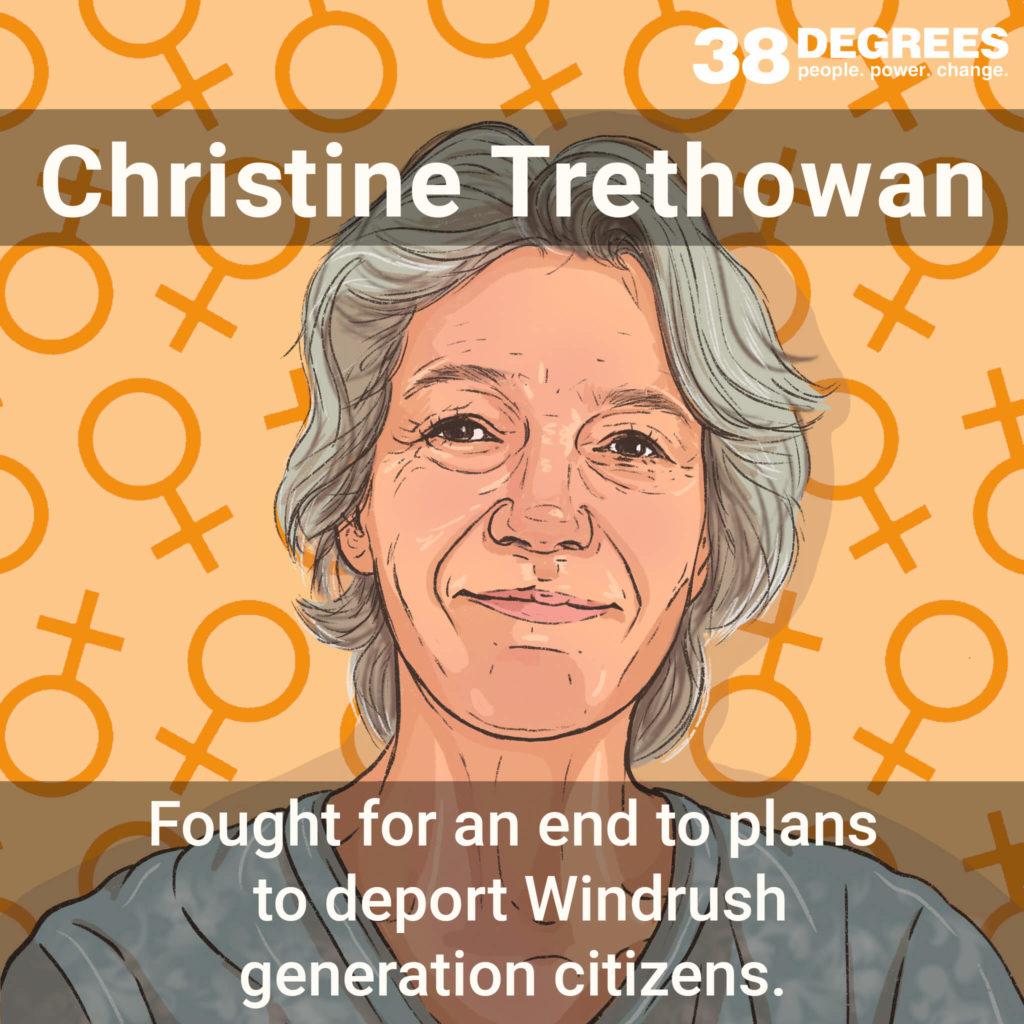"""Image shows Christine Trethowan. Text on the image says """"fought for an end to plans to deport Windrush generation citizens""""."""