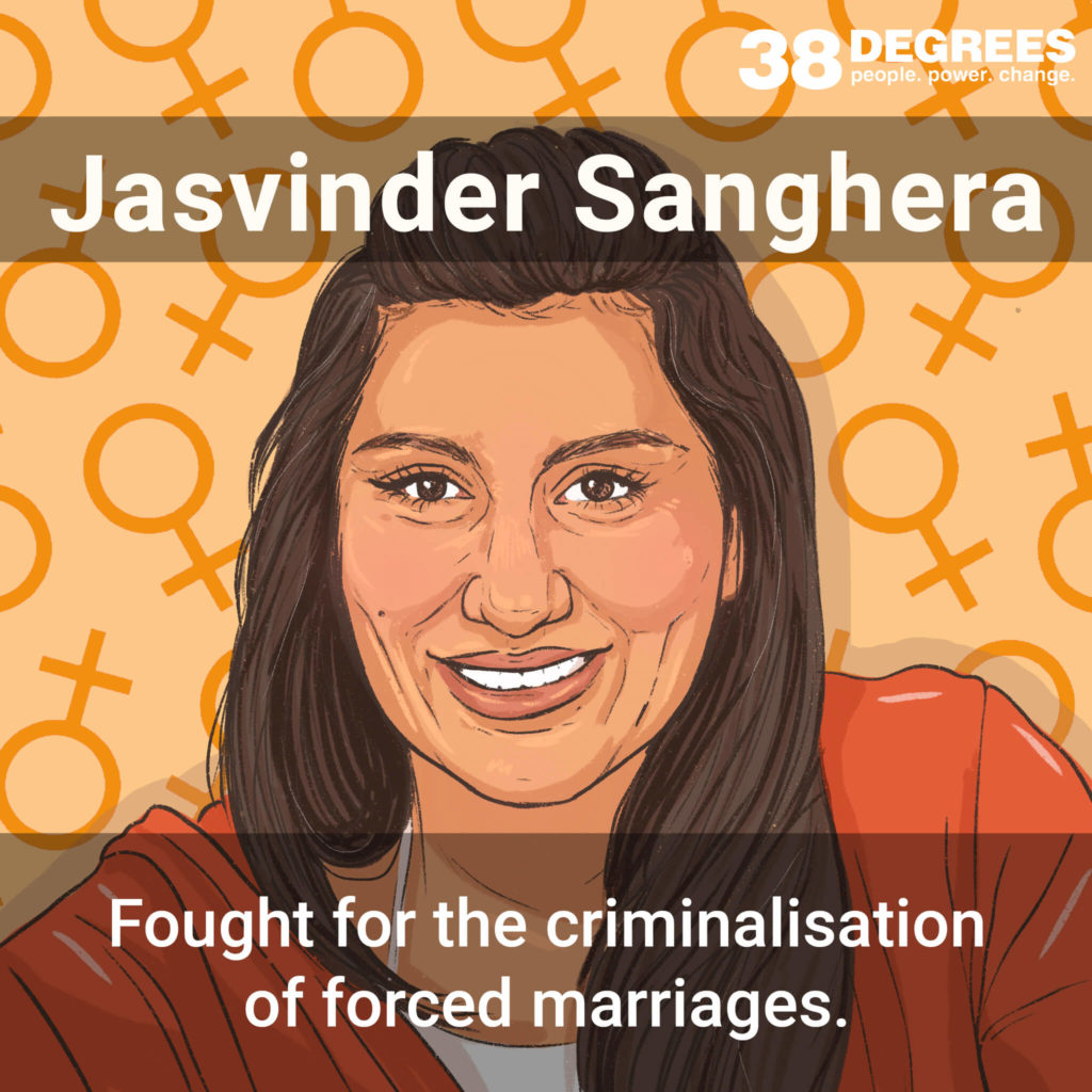 """Image shows Jasvinder Sanghera. Text on the image says """"fought for the criminalisation of forced marriages""""."""