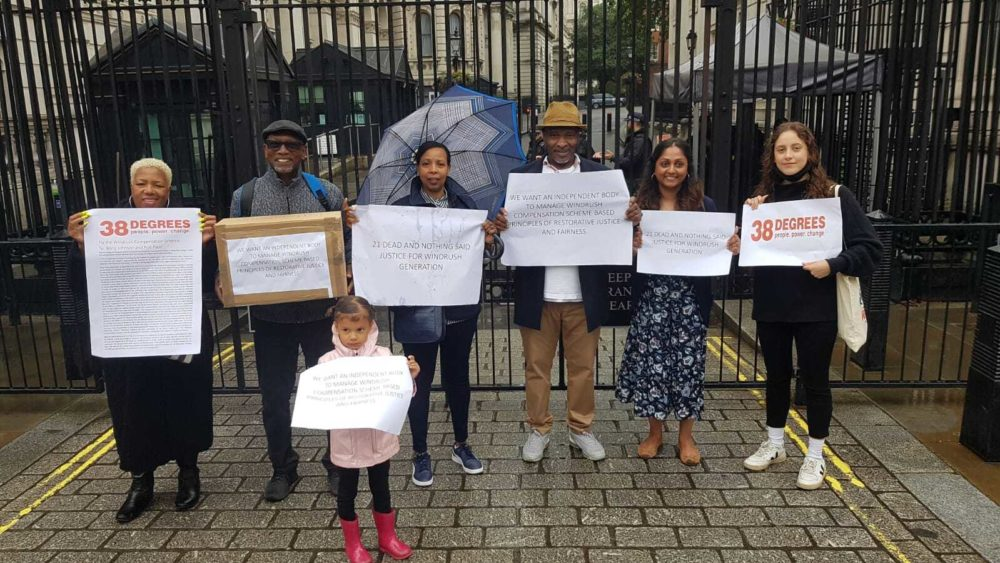 image of windrush campaigners at downing street