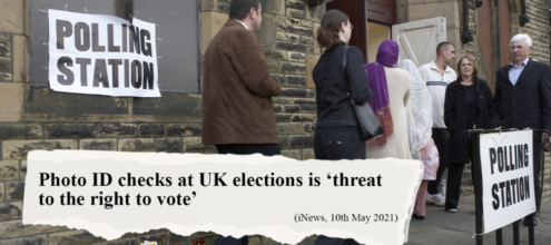 """Image shows voters outside a polling station. Text on the image says """"Photo ID checks at UK Elections is"""